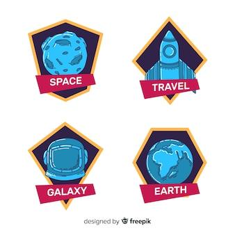 Collezione di badge spazio disegnato a mano colorata