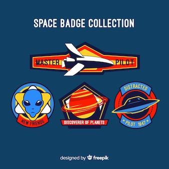 Collezione di badge spazio disegnato a mano incantevole