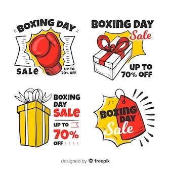 Collezione di badge vendita boxing disegnata a mano