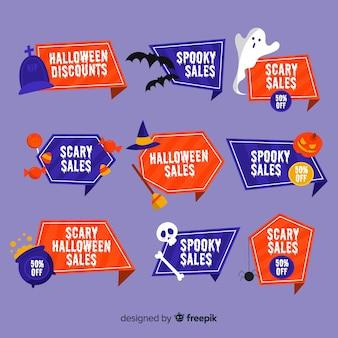 Collezione di badge vendita di halloween piatto