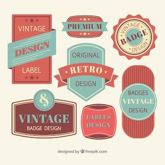 Collezione di badge vintage con design piatto