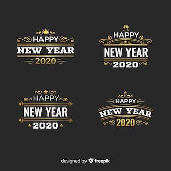 Collezione di badge vintage del nuovo anno 2020