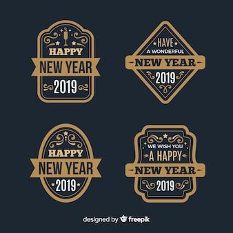 Collezione di badge vintage new year 2019