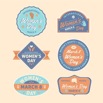 Collezione di badge vintage per la festa della donna