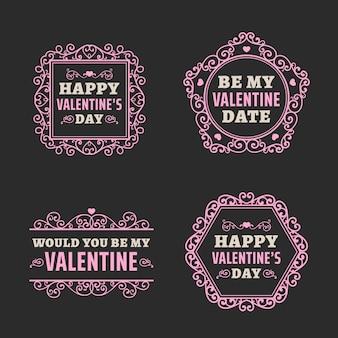 Collezione di badge vintage per san valentino