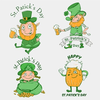 Collezione di badge vintage st patricks day