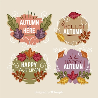 Collezione di badges autunno disegnato a mano
