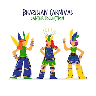 Collezione di ballerini di carnevale brasiliano colorato