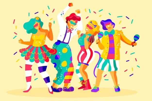 Collezione di ballerini di carnevale
