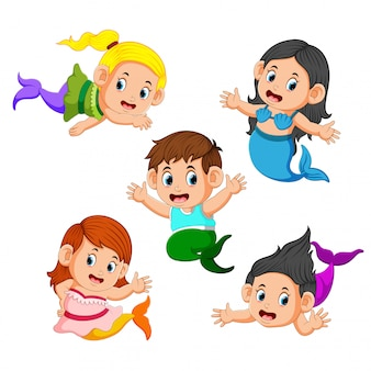 Collezione di bambini che indossano costumi a sirena