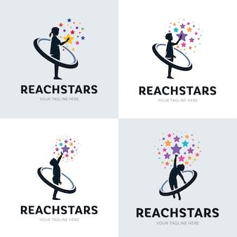 Collezione di bambini che raggiungono star logo set