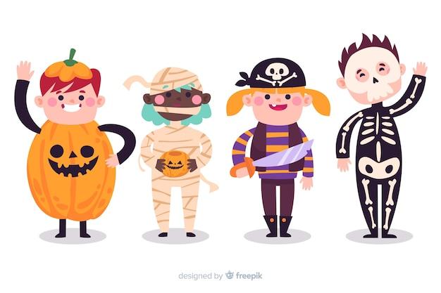 Collezione di bambini di halloween in costumi