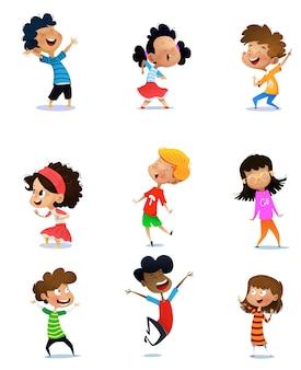 Collezione di bambini felici insieme. isolato su sfondo bianco