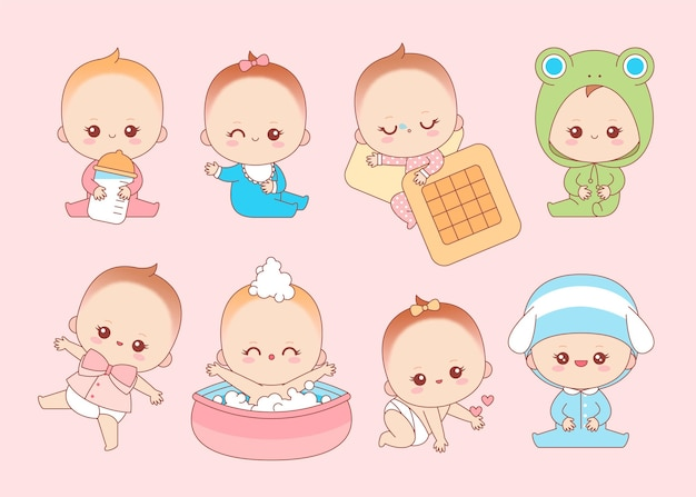 Collezione di bambini giapponesi kawaii