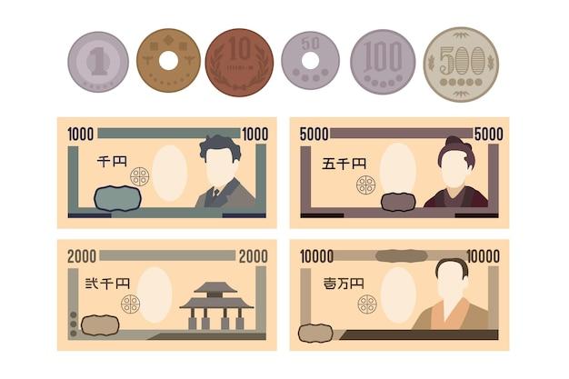 Collezione di banconote e monete in yen