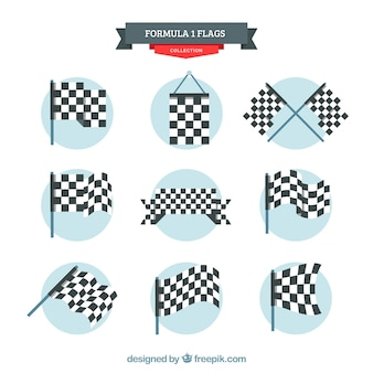 Collezione di bandiere a scacchi con design piatto