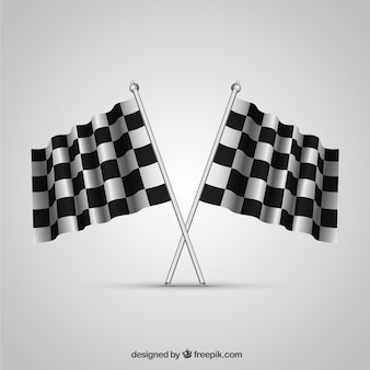 Collezione di bandiere a scacchi con un design realistico
