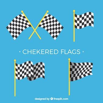 Collezione di bandiere a scacchi piatti
