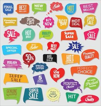 Collezione di bandiere ed etichette di vendita moderna