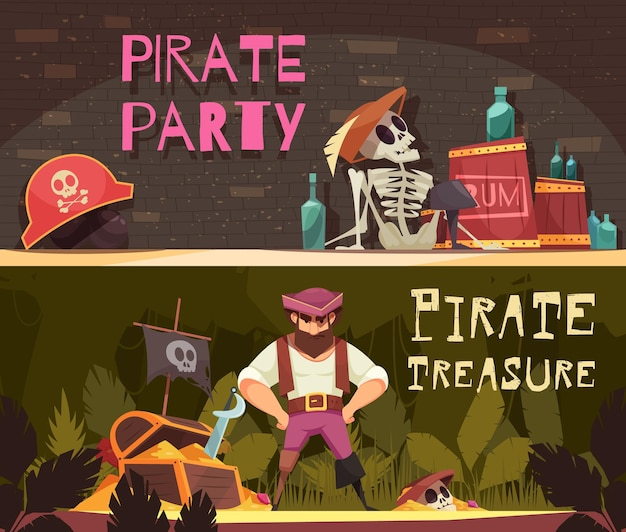 Collezione di bandiere pirata di due composizioni orizzontali in stile cartone animato con articoli di abbigliamento pirata e bottiglie di rum