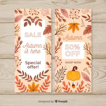 Collezione di banner autunno vendita disegnata a mano