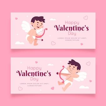 Collezione di banner design piatto di san valentino