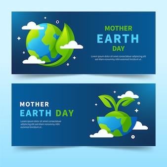 Collezione di banner design piatto madre terra giorno