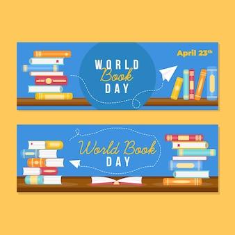 Collezione di banner design piatto mondo libro giorno