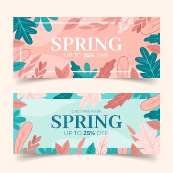 Collezione di banner design piatto primavera vendita