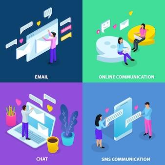 Collezione di banner di comunicazione virtuale isometrica