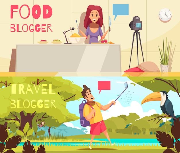 Collezione di banner di food blogger