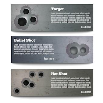 Collezione di banner di fori di proiettile