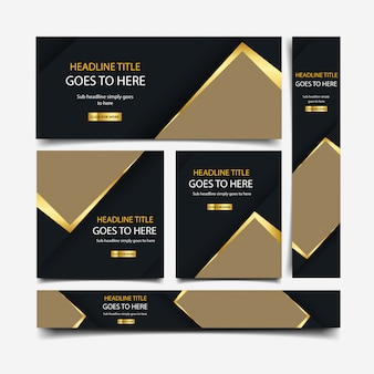 Collezione di banner di lusso d'oro
