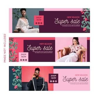 Collezione di banner di moda promozione
