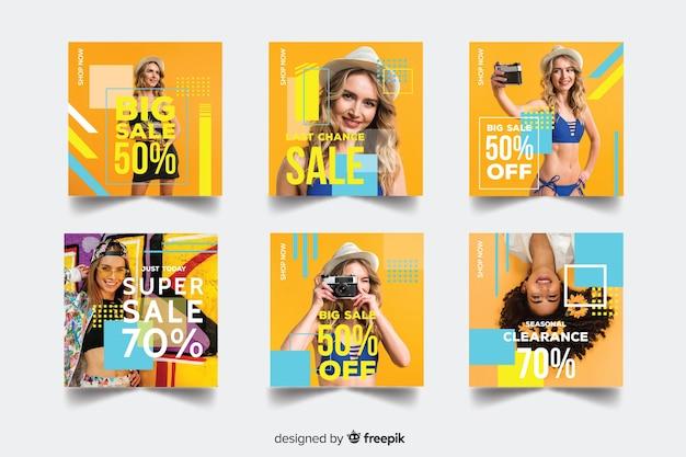 Collezione di banner di moda vendita con foto