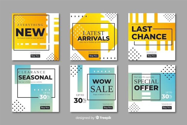 Collezione di banner di promozione vendita astratta