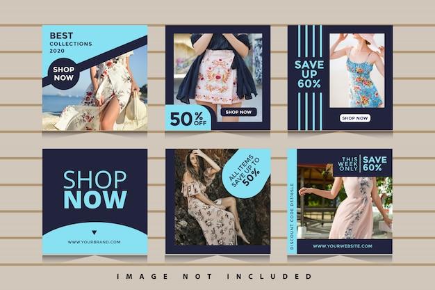 Collezione di banner di social media di vendita di moda