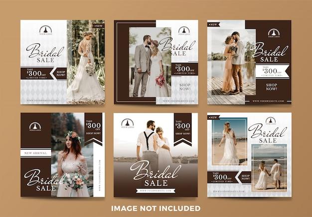 Collezione di banner di social media di vendita di nozze o da sposa