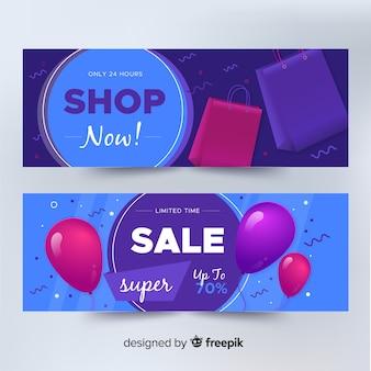 Collezione di banner di vendita geometrica realistico
