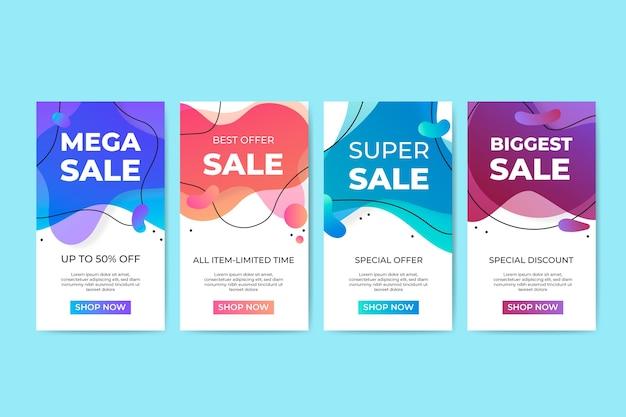 Collezione di banner di vendita liquido colorato