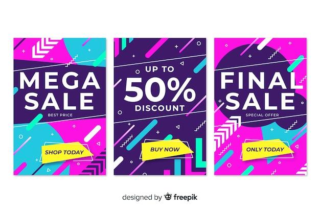 Collezione di banner di vendita stile memphis