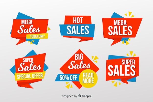 Collezione di banner di vendita stile origami