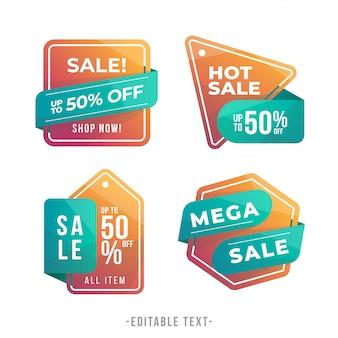 Collezione di banner e tag moderna vendita sfumata