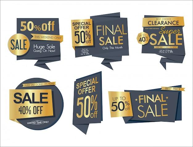 Collezione di banner ed etichette di vendita moderna 7