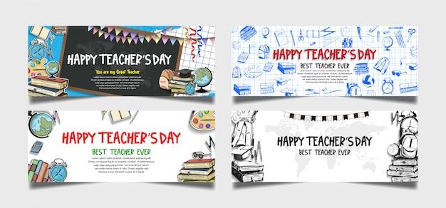 Collezione di banner felice giorno degli insegnanti