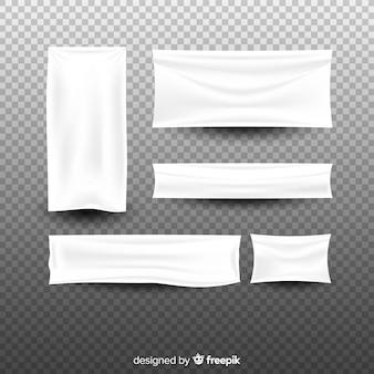 Collezione di banner in tessuto bianco