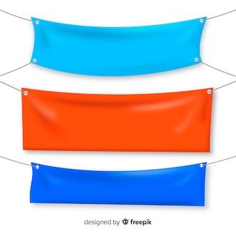 Collezione di banner in tessuto in stile realistico