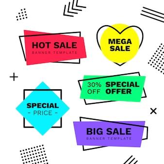 Collezione di banner in vendita in stile memphis