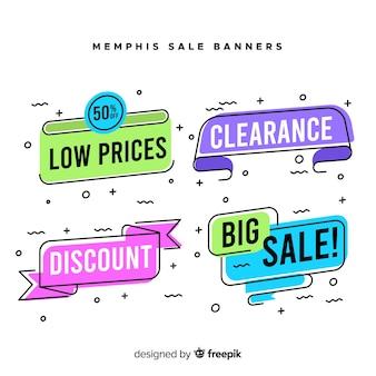Collezione di banner in vendita stile memphis