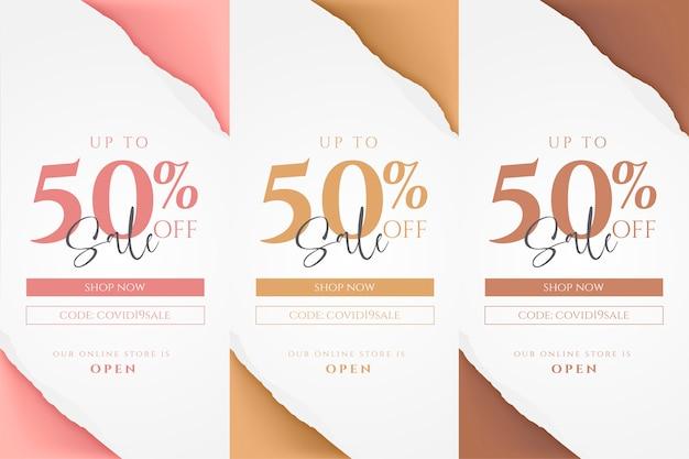 Collezione di banner offerta negozio online